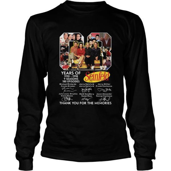 08 years of 1990 1998 9 seasons 180 episodes seinfeld thank you for the memories signatures  Long Sleeve