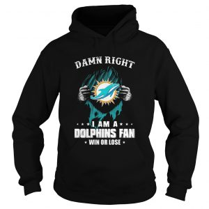 Blood insides damn right I am a miami dolphins fan win or lose stars  Hoodie