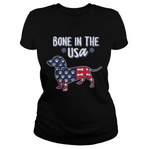Dachshund bone in the USA American flag veteran Independence Day paw  Classic Ladies