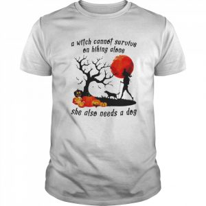 A Witch Cannot Survive On Hiking Alone She Also Needs A Dog Halloween  Classic Men's T-shirt