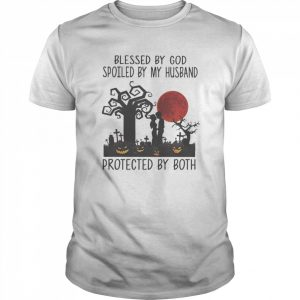 Blessed By God Spoiled By My Husband Protected By Both Pumpkin Halloween  Classic Men's T-shirt