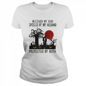 Blessed By God Spoiled By My Husband Protected By Both Pumpkin Halloween  Classic Women's T-shirt