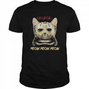 Cat Horror Mask Ch Ch Ch Meow Meow Meow Halloween  Classic Men's T-shirt