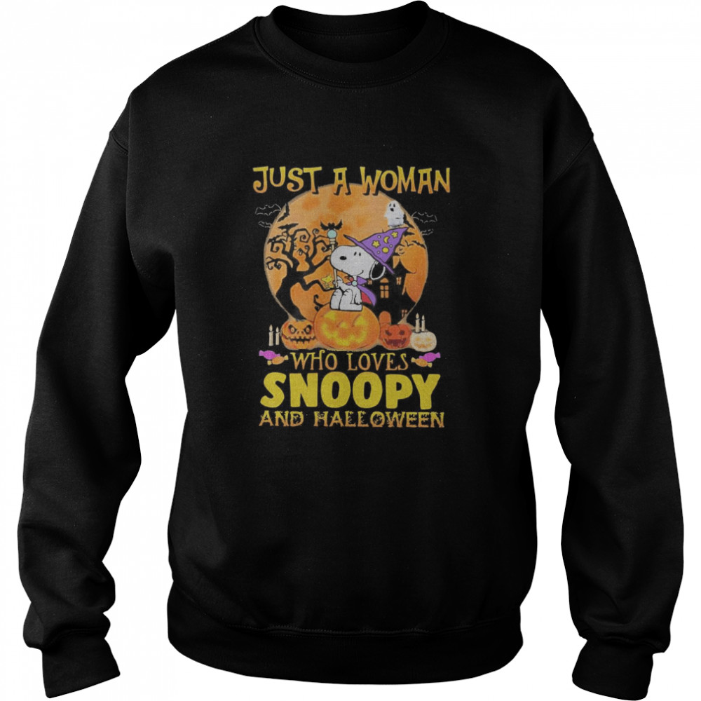 Just A Woman Who Loves Snoopy And Halloween  Unisex Sweatshirt