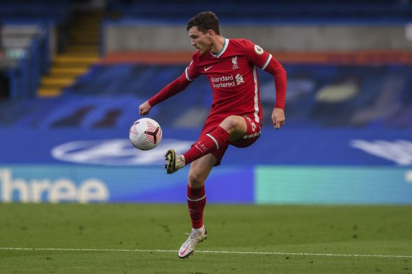 Liverpool's Andrew Robertson controls the ball during the English Premier League soccer match between Chelsea and Liverpool at Stamford Bridge Stadium, Sunday, Sept. 20, 2020.