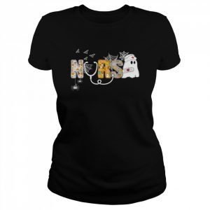 Nurse Halloween Shirt Gift With Pumpkin Boo Spider Witch Hat  Classic Women's T-shirt