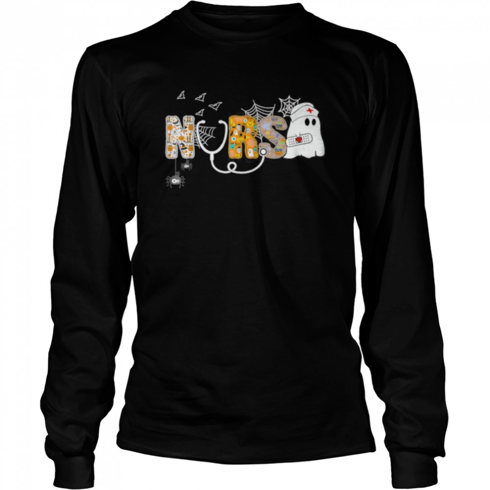 Nurse Halloween Shirt Gift With Pumpkin Boo Spider Witch Hat  Long Sleeved T-shirt