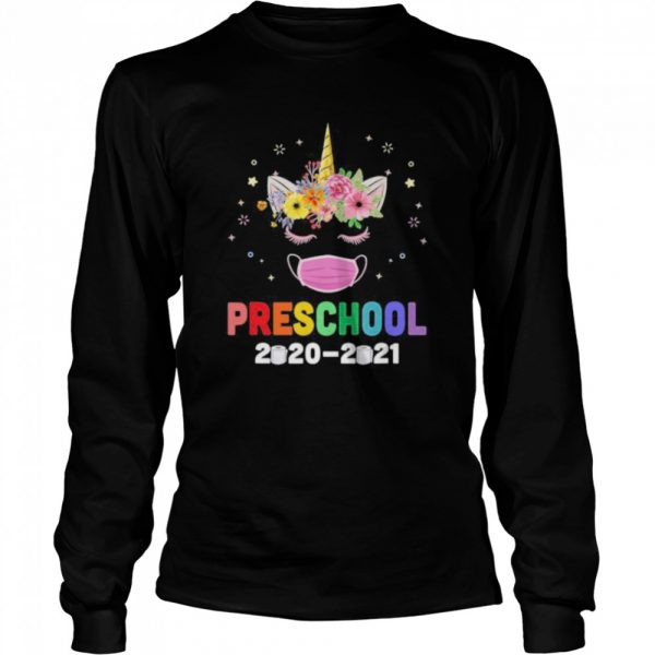 Quarantine Unicorn Hello Preschool 2020 Back To School  Long Sleeved T-shirt