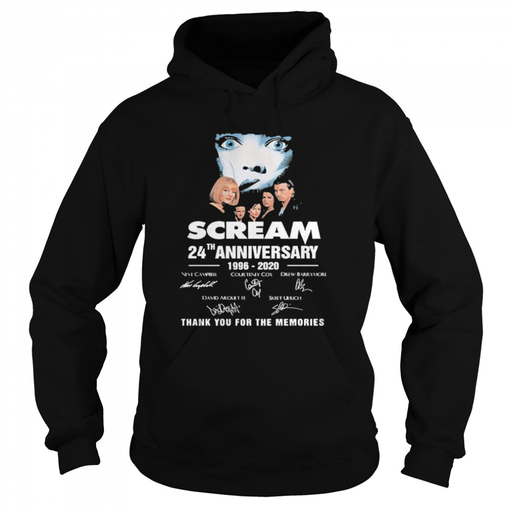 Scream 24th Anniversary 1996 2020 Thank You For The Memories Signatures  Unisex Hoodie