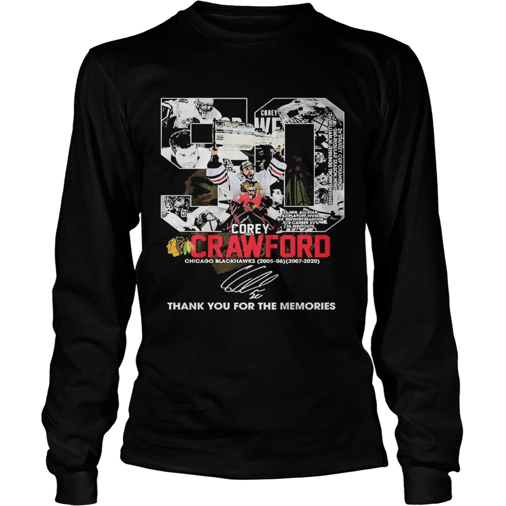 50 Corey Crawford Chicago Blackhawks Thank You For The Memories  Long Sleeve