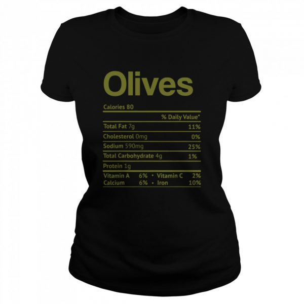Olive Nutrition Facts Funny Thanksgiving Christmas Food  Classic Women's T-shirt