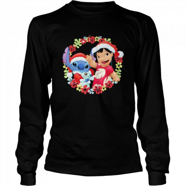 Lilo And Stitch Wear Pajama Santa Claus Merry Christmas  Long Sleeved T-shirt